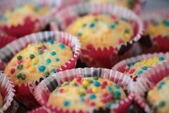 Selbst gemachte Muffins, bunt, Stockfotografie