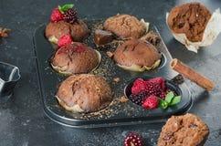 Selbst gemachte Muffins der Schokolade mit rapsberry auf schwarzem Hintergrund Stockbild