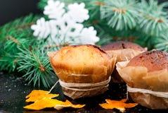 Selbst gemachte Muffins im braunen Papier Lizenzfreie Stockfotografie