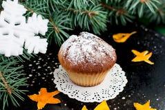Selbst gemachte Muffins mit Puderzucker auf einem dunklen Hintergrund Stockfotos