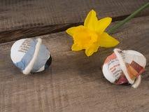 Selbst gemachte Ostereier mit einer Blume Stockfoto