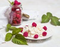 Selbst gemachte Pfannkuchen mit Honig, Himbeeren, Hüttenkäse mit Pulverzucker Flache Lage, Draufsicht Kopieren Sie Platz Eco Art Lizenzfreie Stockfotografie