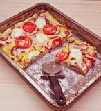 Selbst gemachte Pizza Stockfoto
