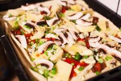 Selbst gemachte Pizza in der Wanne Lizenzfreies Stockfoto