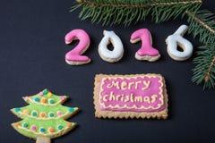 Selbst gemachte Plätzchen des Lebkuchens mit Zuckerglasur- und Weihnachtsbaum branc Stockbild