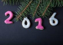 Selbst gemachte Plätzchen des Lebkuchens mit Zuckerglasur- und Weihnachtsbaum branc Lizenzfreie Stockbilder