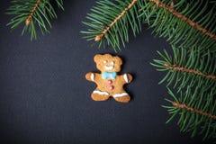 Selbst gemachte Plätzchen des Lebkuchens mit Zuckerglasur- und Weihnachtsbaum branc Stockfotografie