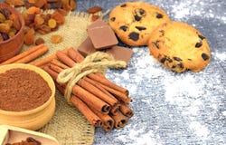 Selbst gemachte Plätzchen mit Schokoladenkrumen und -gewürzen Nahaufnahme stockbild