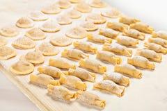 Selbst gemachte Ravioli mit Mehl auf hölzernem Brett Stockfotos