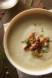 Selbst gemachte sahnige Kartoffel-und Porree-Suppe Stockfoto