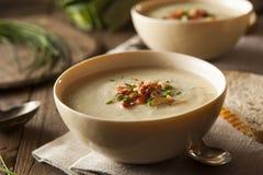 Selbst gemachte sahnige Kartoffel-und Porree-Suppe Stockfotos