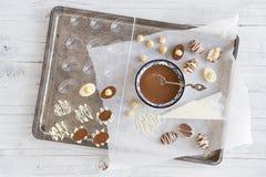 Selbst gemachte Schokoladen-Ostereier Lizenzfreie Stockfotos