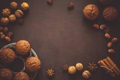 Selbst gemachte Schokoladenmuffins mit Gewürzen Stockfotografie