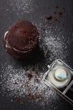 Selbst gemachte Schokoladenplätzchen mit Milch Stockbild