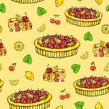 Selbst gemachte Torte über eine Zitrone und eine Kirsche auf einem gelben Hintergrund Nahtloses Muster für Auslegung Animationsil vektor abbildung