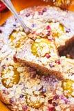 Selbst gemachte Torte mit Aprikosen und Beeren stockbilder