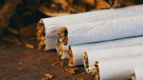 Selbst gemachte Zigaretten oder Rolle-oben des Filters nahe bei den trockenen Tabakblättern angefüllt mit gehacktem Tabak stock video