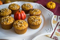 Selbst gemachter Autumn Pumpkin Muffins Stockfotografie