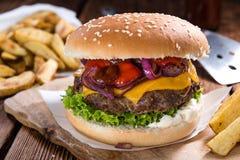 Selbst gemachter Burger Stockbild