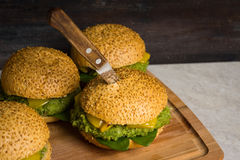 Selbst gemachter Burger des strengen Vegetariers Lizenzfreie Stockfotografie