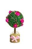 Selbst gemachter dekorativer Baum mit rosa Rosen Lizenzfreie Stockbilder