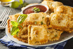 Selbst gemachter Fried Ravioli mit Marinara-Soße lizenzfreie stockfotos