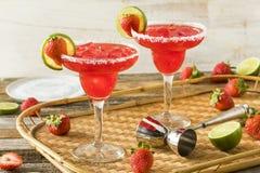 Selbst gemachter gefrorener Starwberry Margarita lizenzfreie stockfotos