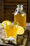 Selbst gemachter gegorener roher Ingwerzitrone kombucha Tee Gesundes natürliches probiotic gewürztes Getränk Kopieren Sie Platz Stockfotos