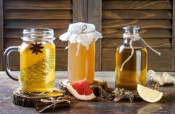 Selbst gemachter gegorener roher kombucha Tee mit verschiedenen Würzen Gesundes natürliches probiotic gewürztes Getränk Kopieren  Lizenzfreies Stockbild