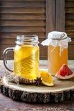 Selbst gemachter gegorener roher kombucha Tee mit verschiedenen Würzen Gesundes natürliches probiotic gewürztes Getränk Kopieren  Lizenzfreies Stockfoto