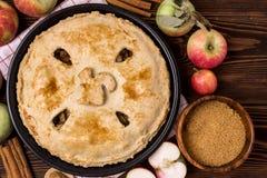 Selbst gemachter geschmackvoller Apfelkuchen mit Apfel-und Gewürz-hölzernem Hintergrund-Draufsicht-rohem Äpfel Cinnamone-Stock-Ko Stockbild