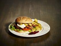 Selbst gemachter Hamburger Lizenzfreie Stockfotos
