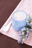 Selbst gemachter Jogurt in einer keramischen Schüssel auf einer rosa Tischdecke, einem weißen Löffel und einem Zweig der Flieder Stockbilder