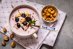 Selbst gemachter Jogurt mit frischer Blaubeere und Nüssen Stockfotos