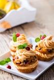 Selbst gemachter Käse ici der Herbstmoosbeerkürbis-kleinen Kuchen mit Sahne Stockbilder