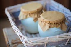 Selbst gemachter Milchjoghurt in den Gläsern lizenzfreie stockfotos