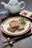 Selbst gemachter Rübenkuchen, chinesischer dim sum-Teller Lizenzfreies Stockfoto
