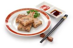 Selbst gemachter Rübenkuchen, chinesischer dim sum-Teller Stockbild
