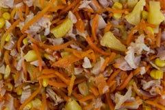 Selbst gemachter Salat des Hintergrundes vom Gemüse der Frucht und geraucht mir Lizenzfreie Stockfotografie