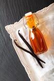 Selbst gemachter Vanille-Extrakt in der Glasflasche und in den Vanilleschoten auf schwarzem Hintergrund mit Kopienraum lizenzfreies stockbild