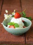 Selbst gemachter Vanilleeis mit Erdbeeren Stockfoto