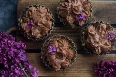 Selbst gemachter Vanillekleiner kuchen mit der Schokolade, die auf hölzernem hölzernem Hintergrund mit Flieder bereift Lizenzfreies Stockfoto