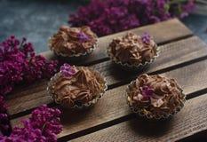 Selbst gemachter Vanillekleiner kuchen mit der Schokolade, die auf hölzernem hölzernem Hintergrund mit Flieder bereift Lizenzfreie Stockbilder