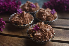 Selbst gemachter Vanillekleiner kuchen mit der Schokolade, die auf hölzernem hölzernem Hintergrund mit Flieder bereift Stockbilder