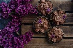 Selbst gemachter Vanillekleiner kuchen mit der Schokolade, die auf hölzernem hölzernem Hintergrund mit Flieder bereift Lizenzfreie Stockfotos