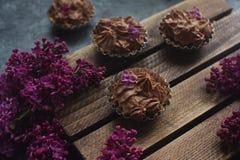 Selbst gemachter Vanillekleiner kuchen mit der Schokolade, die auf hölzernem hölzernem Hintergrund mit Flieder bereift Lizenzfreie Stockfotografie
