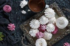 Selbst gemachter Zefir der Vanille und der Himbeere, köstliche rosa und weiße Eibische Lizenzfreies Stockbild