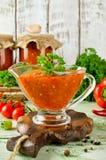 Selbst gemachtes adjika der scharfen Soße mit Gemüse Lizenzfreie Stockfotografie