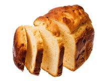 Selbst gemachtes Brot auf einem weißen Hintergrund Stockfotografie