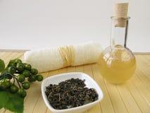 Selbst gemachtes Duschgel mit grünem Tee und Zitrone riechen lizenzfreie stockfotografie